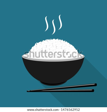 Rice in a bowl with chopstick isolated on blue background vector illustration. beautiful cartoon food for restaurant.