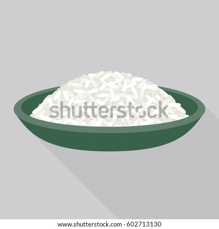 rice in plate vector, flat design