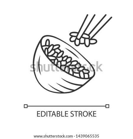 Rice linear icon. Japanese food. Bowl with white rice. Sushi, spring rolls ingredient. Natural, organic food. Thin line illustration. Contour symbol. Vector isolated outline drawing. Editable stroke ストックフォト ©