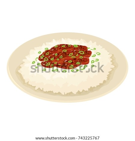 rice on plate icon isometric