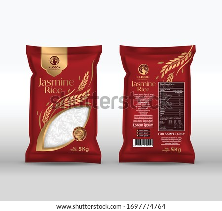 Rice Package Mockup Thailand food Products, vector illustration
