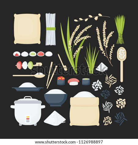 rice vector flat icon set  big