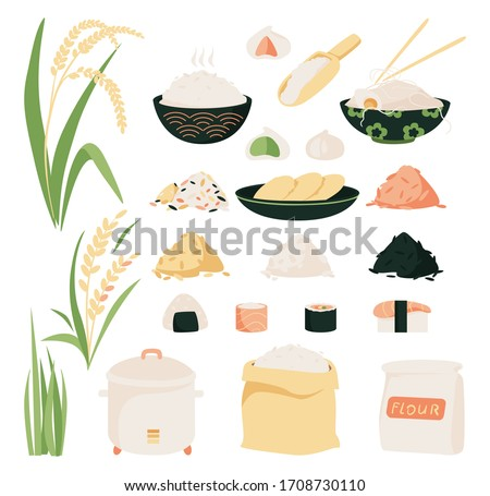 Rice vector icon set. Collection of icons of rice products: noodles, sushi, mochi rice cake, flour. Rice variety, plants from plantation and isolated products.