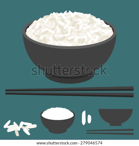 Rice vector in bowl with chopsticks