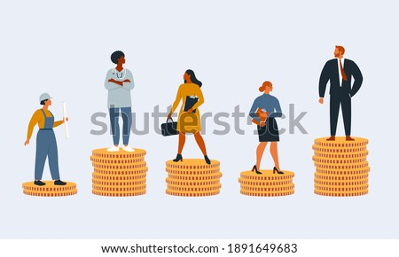 Rich and poor people with different salary, income or career growth unfair opportunity. Concept of financial inequality or gap in earning. Flat vector cartoon illustration isolated.