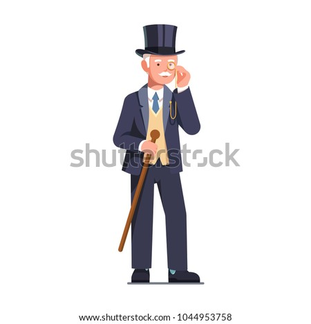 Rich and successful old tycoon business man wearing three-piece retro suit. Wealthy retired senior gentleman in top hat standing with cane & looking through monocle. Flat vector character illustration