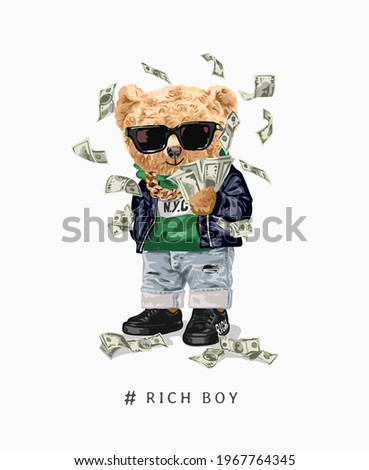 rich boy slogan with fashion bear doll in sunglasses and flying money vector illustration
