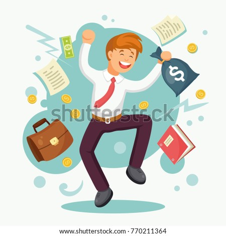 Rich businessman, employee jumping with money bag, cash. Salary, bonus, income concept. Successful contract, business agreement. Happy character isolated on white background Vector flat cartoon design