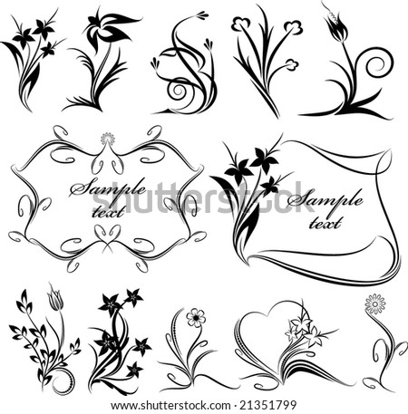 stock-vector-rich-collection-of-decor-elements-for-design-or-tattoo