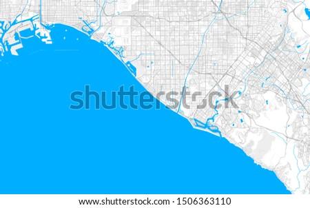 Rich detailed vector area map of Huntington Beach, California, USA. Map template for home decor.
