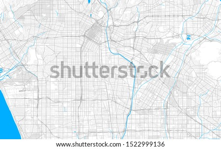 Rich detailed vector area map of Huntington Park, California, USA. Map template for home decor.