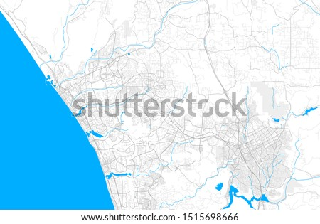 Rich detailed vector area map of Vista, California, USA. Map template for home decor.