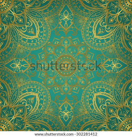 Rich gold ornaments on a turquoise background. Vector seamless ornate oriental pattern. Template for textile. - stock vector