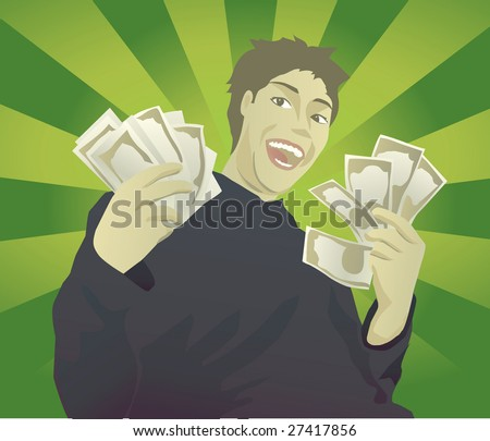Rich kid showing off all the money he has by waving around cash.