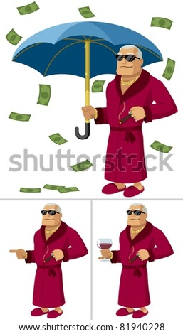 Rich Man: Cartoon illustration of a rich man in 3 different poses/situations. No transparency and gradients used.