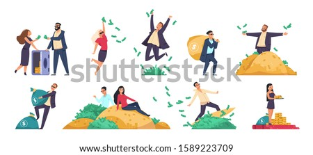 Rich people. Millionaire or banker happy cartoon character with bundles of money, throwing and jumping. Vector illustration wealthy businessman in financial stability set on white background