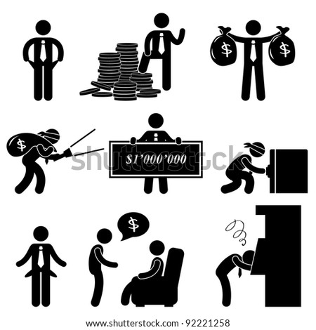 Rich Poor Success Failure Desperate Businessman Icon Symbol Sign Pictogram
