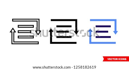Rich text converter icon of 3 types: color, black and white, outline. Isolated vector sign symbol.