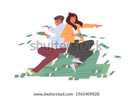 Rich wealthy careless people on bucks heap throwing cash and wasting money. Abundance and prosperity concept. Colored flat vector illustration of carefree millionaires isolated on white background Photo stock ©