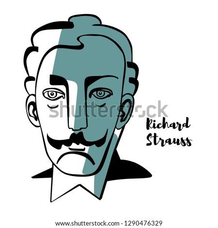 richard strauss engraved vector