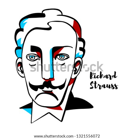 richard strauss engraved vector