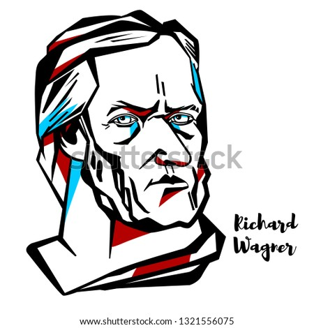 richard wagner engraved vector