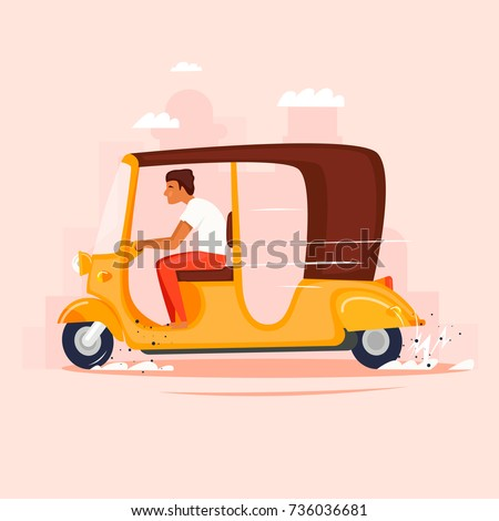 rickshaw moped  taxi flat