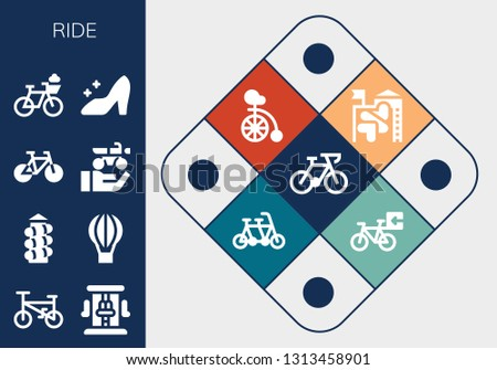 ride icon set. 13 filled ride icons.  Collection Of - Bicycle, Roller coaster, Slide, Hot air balloon, Bike, Motorbike, Cinderella, Unicycle, Tandem
