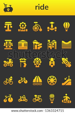 ride icon set. 26 filled ride icons.  Simple modern icons about  - Amusement park, Bike, Ferris wheel, Scooter, Hot air balloon, Roller coaster, Carousel, Slide, Quad, Skateboard