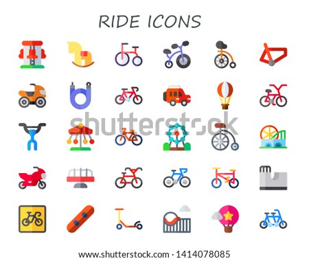 ride icon set. 30 flat ride icons.  Simple modern icons about  - roller coaster, rocking horse, tricycle, bicycle, unicycle, quad, bike, jeep, hot air balloon, handlebar, ferris wheel