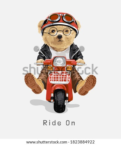 ride on slogan with bear toy