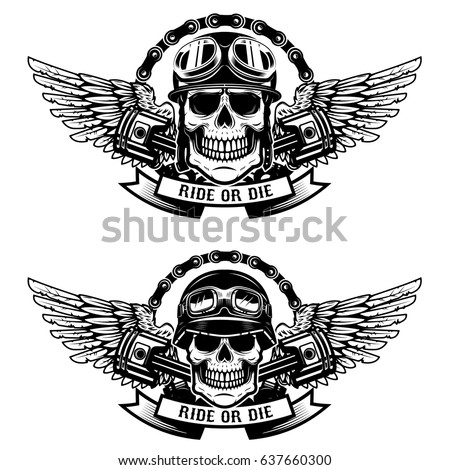 Royalty free motor skull vector graphic motorcycle for Ride or die tattoo designs