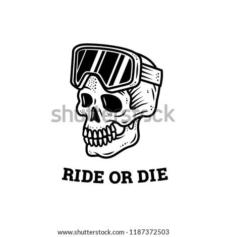 ride or die skull ski goggles