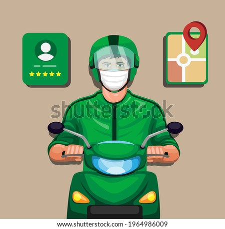Rider motorbike taxi online with profile rating and gps symbol set cartoon illustration vector Stockfoto ©