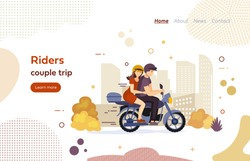 Riders couple trip on motorbike website landing page. Lovers couple together riding motorcycle. Traveling men, women in helmets on a motorcycle in autumn, active lifestyle, urban transportation vector