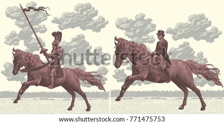 riders on horseback. design set....