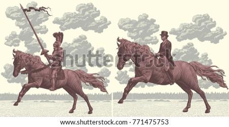 riders on horseback design set