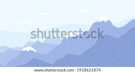 ridge of blue mountains with