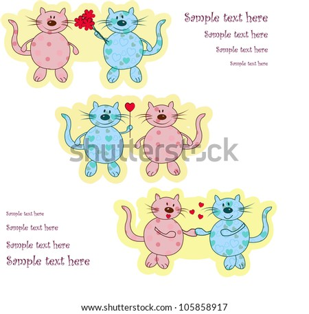 Ridiculous enamored cats - stock vector