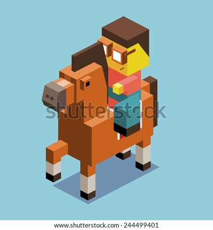 riding horse 3d pixelate