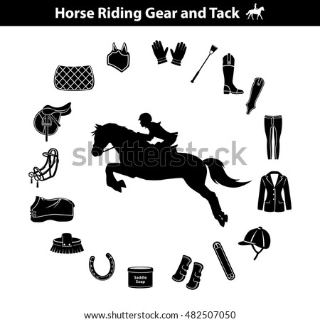 Riding Horse Silhouette Equestrian Sport Equipment Icons Set Gear Tack Accessories Jacket