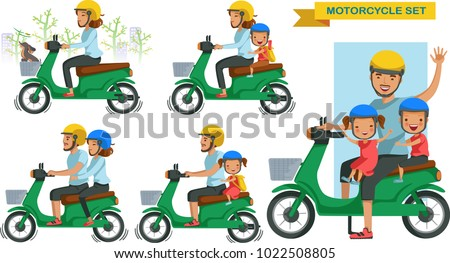 riding motorcycle family set