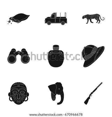 Rifle, mask, map of the territory, diamonds and other equipment. African safari set collection icons in black style vector symbol stock illustration web.