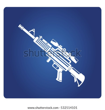 rifle sniper gun icon on blue