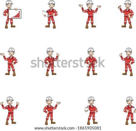 Rig man crew mascot character set ver. 01 Foto stock ©