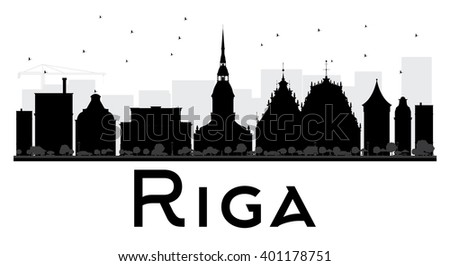 riga city skyline black and