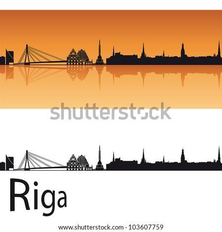 riga skyline in orange