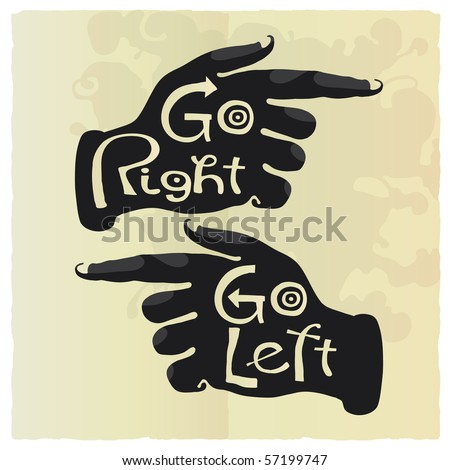 Right and left direction hands letter paper