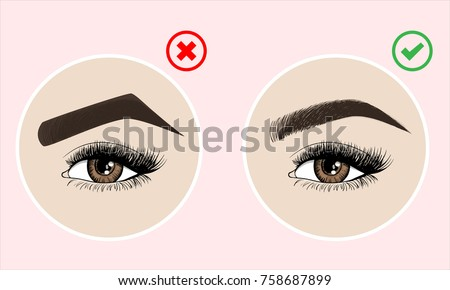Right and wrong eyebrow coloring and eyebrows shapes. Female eyes and eyebrows vector elements. Types of eye makeup eyebrows. Vector illustration on pink background.