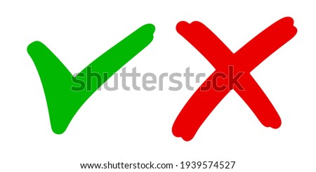Right and wrong icon. hand drawn of Green checkmark and Red cross isolated on white background.Vector illustration.